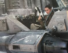 Rey behind the controls of a snowspeeder in a deleted scene from TFA