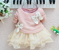 5.28 GBP - Casual Infant Baby Girls Dress Knit Sweater Tops Bow Lace Tulle Dresses Outfits #ebay #Home & Garden