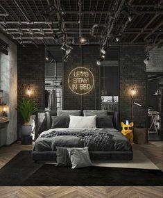 Black Interior Design, Interior Design Inspiration, Home Decor Inspiration, Design Ideas, Room Design Bedroom, Bedroom Loft, Bedroom Decor, Bedroom Ideas, Scandinavian Style Home