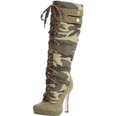 These Sergeant Camouflage Boots for women by Leg Avenue are a sight to behold. The green and black camo pattern design and pink shoe bottoms is sassy and sexy. The lace-up front knee high boot is 90% canvas fabric, 5% metal and 5% other material. The 4 1/2 inch high …