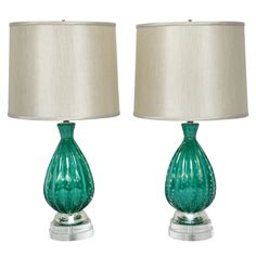 Turquoise Murano Glass Lamps by Barovier | From a unique collection of antique and modern table lamps at http://www.1stdibs.com/furniture/lighting/table-lamps/