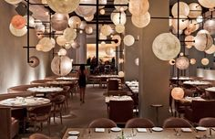 d/f size bubble lights...looks very galactic  restaurant interiors