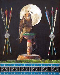 """Falcon Crest,"" encaustic collage by Miranda Lake #collage #UpriseArt"