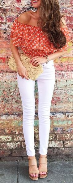 Off Shoulder orange Top, blouse, white jeans, beige purse. Summer women fashion outfit clothing style apparel @roressclothes closet ideas