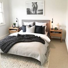 Simple Style Co Homewares, Home Decor & Interior Styling Melbourne is part of Bedroom decor inspiration - Bedroom Apartment, Home Decor Bedroom, Bedroom Inspo, Bedroom Ideas Grey, Industrial Bedroom Decor, Spare Bedroom Ideas, Modern Grey Bedroom, Neutral Bedroom Decor, Monochrome Bedroom