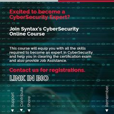 Almost every company in the world today requires CyberSecurity experts to build & protect systems to mitigate catastrophic cyber threats.😈 However, not many people are aware of the roadmap to follow to establish a career in CyberSecurity. Let us find out in this post. #cybersecurity #ethicalhacker #ethicalhackers #ethicalhacking #ethicalhackerintraining #cybersecuritytraining #cybersecuritycourse #cybersecuritytips #cybersecurityawareness #cybersecuritynews #syntaxtechnologies #syntaxtechs Cyber Security Course, Cyber Security Awareness, Cyber Security Certifications, Security Training, Cyber Threat, Marketing Jobs, Training Courses, Online Courses, How To Become