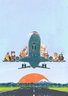 Narita Airport illustration by Tatsuro Kiuchi