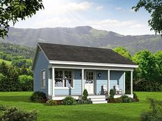 This Small House style home plan with Cottage influences (House Plan has 561 square feet of living space. The 1 story floor plan includes 1 bedroom. One Bedroom House Plans, Porch House Plans, Cottage Style House Plans, Simple House Plans, Cottage Style Homes, House With Porch, Country House Plans, Tiny House Plans, Small Home Plans