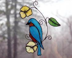 Stained Glass Bluebird Suncatcher Glass Art, Wildlife Art, Bird Lovers Gift by BerlinGlass on Etsy
