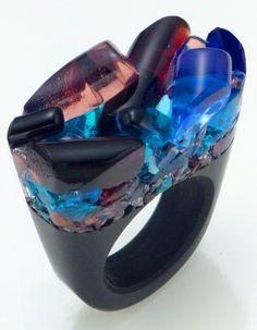 Murano Glass Ring, Blu Night Pasionae