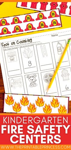 Perfect for your Kindergarten fire safety theme, this pack contains 14 math and literacy centers, 2 picture sorts, and several fire safety printables. Prepare for Fire Safety Week while students identify beginning sounds, match upper and lowercase letters, compare number values, practice counting, work with ten frames and more! Activity Centers, Literacy Centers, Fire Safety Week, Alphabet Line, Letter Matching, Uppercase And Lowercase Letters, Vocabulary Cards, Kindergarten Literacy, Lower Case Letters