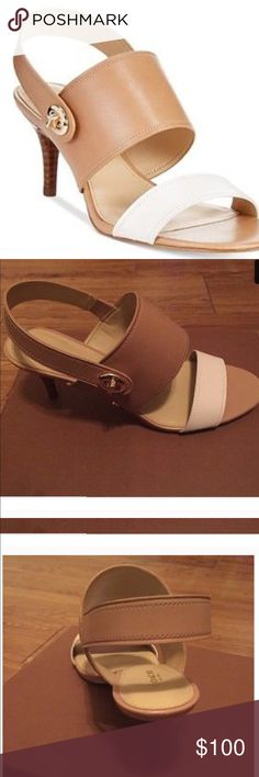 Coach heels worn once for wedding two toned Coach heels worn once for wedding. Two toned brown and white trade value at $115 Coach Shoes Heels