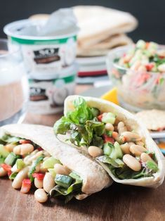 Make Vegan White Bean Salad Pitas for lunch with this easy and healthy recipe.