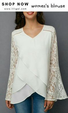 White Lace Panel Asymmetric Hem Blouse - Ideal World Trendy Tops For Women, Blouses For Women, Blouse Styles, Blouse Designs, Bluse Outfit, Pullover Shirt, Sewing Blouses, Lace Tops, Dress Patterns