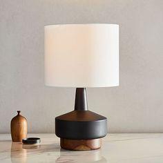 Wood + Ceramic Table Lamp, Medium, Black, Set of 2 Lighting Sale, Home Lighting, Modern Lighting, Bedside Lighting, Bedroom Lighting, Lighting Ideas, Table Lamp Wood, Ceramic Table Lamps, Concrete Table
