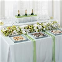 Green and White Orchids Appetizer Table Decoration