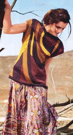 Пуловер в стиле Сафари: схема вязания спицами с описанием