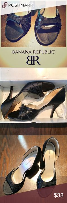 """EUC Banana Republic Viola Satin & Sequin Heels🛍😍 Excellent condition, only worn once for a few hours at a wedding. From my smoke free home. Women's Size 9 1/2. Original Retail: $118. Banana Republic Viola Satin Heels with Sequin and Grosgrain Ribbon detail in Black. Heel height 3.75"""". Made in Italy. Leather Soles.   I've had three back surgeries and can't wear heels anymore so I'm clearing them out. My loss is your gain! Banana Republic Shoes Heels"""