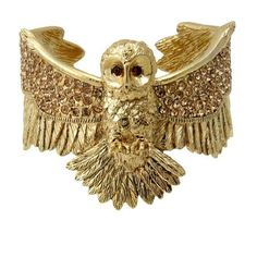 Wildfox Couture Jewelry Owl Cuff in Gold ($139) ❤ liked on Polyvore