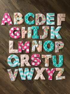 Fabric Alphabet Set Fabric Letters A-Z Alphabet Letters Diy Sewing Projects, Sewing Hacks, Sewing Tutorials, Sewing Crafts, Letter Patterns, Felt Patterns, Sewing Patterns, Alphabet A, Learning The Alphabet