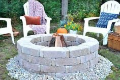 A perfect place to gather with family and friends, this DIY fire pit couldn't be easier to make! No mortar is necessary when you use retaining wall bricks to dry stack the sides and river rock to finish it off. Editor's Note: Make sure the manufacturer of the concrete bricks you are using has deemed them safe for a fire pit application. For extra security, when you are using brick, stone or pavers to create your fire pit, line the inside of the fire pit with a fire-rated brick.