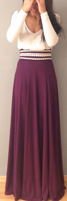 Winter maxi. i could make this. sew triangle pieces of fabric together and add the embroidery on the top.. maybe add a zipper in the back?