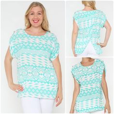 Super cute white & mint aztec print short sleeve top with tulip style back! Great with skinnies, shorts, or jeans! Perfect for casual summer days! Comes in S,M,L,XL,2XL,3XL. #aztec #mint #ivory #top #clothing #outfit #curvy #prints #shopping #fashion #womens #boutique