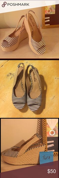 Splendid Espadrilles Wedge Never worn!! I bought them with wishful thinking - at 6'ft tall I just couldn't pull them off, not bold enough! I do love them, but they're too cute to stay in my closet. Retail at $118, I purchased for $78 Splendid Shoes Espadrilles