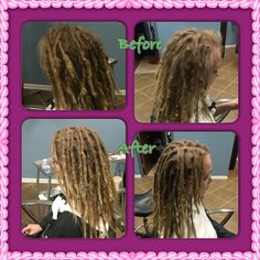 """Jane"" wanted me to focus primarily on her roots.  I worked a little on the body of her locs and didn't really touch the ends. She is still embracing the locking process. #dreads #dreadlockmaintenance #caucasiandreadlocks"