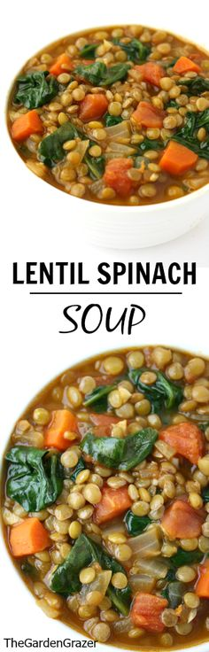 Soup Crowd-pleasing Lentil Spinach Soup with cumin and smoked paprika. Simple, nutrient-dense, and a great freezer meal!Crowd-pleasing Lentil Spinach Soup with cumin and smoked paprika. Simple, nutrient-dense, and a great freezer meal! Vegan Soups, Vegetarian Recipes, Healthy Recipes, Quick Recipes, Spinach Recipes, Vegan Lentil Soup, Lentil Soup Recipes, Simple Recipes, Recipes For Lentils