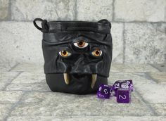 Black Leather Dice Marble Bag With Face RPG Fairy by Pippenwycks