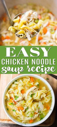 You can enjoy this Homemade Chicken Noodle Soup Recipe in just 20 minutes. If you are craving soup, this is the best homemade chicken noodle soup that is cooked on the stove top. This easy healthy chi Easy Homemade Chicken Noodle Soup Recipe, Best Chicken Noodle Soup, Chicken Soup Recipes, Easy Soup Recipes, Healthy Chicken Recipes, Cooking Recipes, Keto Chicken, Rotisserie Chicken, Grilled Chicken