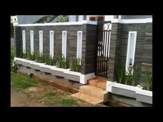 40 Minimalist Wall Fence Models - Speaking of building a house, there are many things that we must pay attention . Fence Wall Design, Front Wall Design, House Fence Design, Exterior Wall Design, Modern Fence Design, Door Gate Design, Compound Wall Gate Design, Decoration Facade, Boundry Wall
