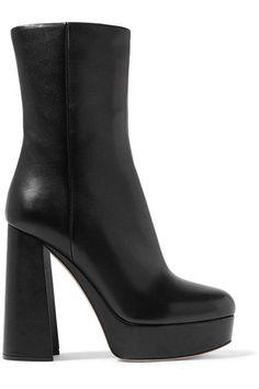 Miu Miu - Leather Platform Boots - Black - IT38.5