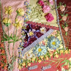 This page includes instructional films on how to embroider every one of the silk ribbon flowers in this crazy patchwork project Ribbon Embroidery Tutorial, Silk Ribbon Embroidery, Embroidery Stitches, Embroidery Patterns, Quilt Patterns, Machine Embroidery, Crazy Quilt Stitches, Crazy Quilt Blocks, Crazy Quilting