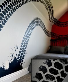 To create tire tracks, cut your paint roller with the shape you want and simply roll onto walls
