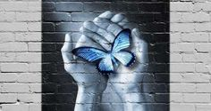 Photo about Graffiti of hands holding a butterfly on a brick wall. Original image also available. See Image No. Image of connection, conscience, creativity - 34762426 Writing A Love Letter, Buddha Wisdom, Amazing Street Art, Alternative Art, Special Needs Kids, True Nature, Outdoor Art, New Things To Learn, Street Artists