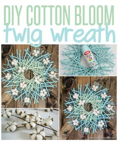 DIY Cotton Bloom Twig Wreath