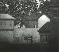 Robert Kipniss. Elsah's Landing, 1990. Mezzotint. TP. 7 x 7-3/4 inches. at Davidsongalleries.com