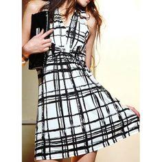 V-Neck Sleeveless High-Waisted Plaid Dress - Rosewholesale.com
