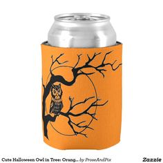 #Cute #Halloween #Owl in Tree: Orange & Black #Party Can Cooler #zazzle #drinking #halloweenfun