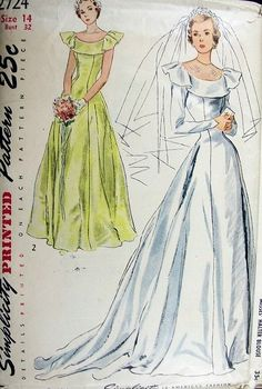 Ca early 1950s PRINCESS STYLE WEDDING GOWN BRIDAL DRESS PATTERN FLATTERING BERTHA COLLAR SIMPLICITY 2724
