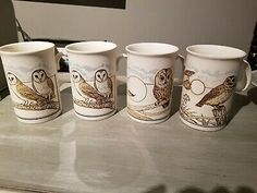 Owl Mugs Dunoon set of 4 made in Scotland chips or cracks Ceramic Mugs, Stoneware, Owl Mug, China Mugs, Plate Sets, Bone China, Blue Bird, Scotland, Chips