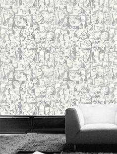 Cara Tres #wallpaper #coveredwallpaper #graphicwallpaper #paperyourwalls #design Cover Wallpaper, Wallpaper Samples, Wallpaper Online, Geometric Wallpaper Design, Graphic Wallpaper, Modern Graphic Design, Designer Wallpaper, Curtains, Color