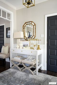 Syle a console table with coastal-chic elements for a timeless and classic look! Decorative Lamp Shades, Console Table Styling, Hallway Console, Entryway Decor, Entryway Ideas, Living Room Decor, Living Spaces, Bedroom Decor, Interior Design