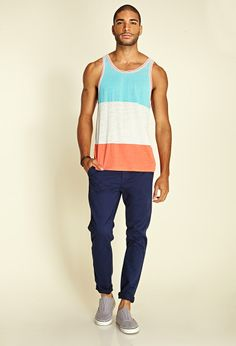 Heathered Colorblock Tank Top | 21 MEN #21Men....def grabbing this whole outfit for hubs!