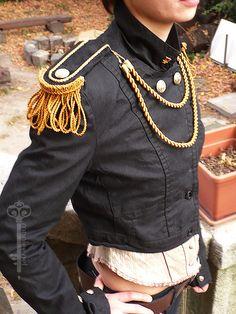 STEAMPUNK Military Jacket with epaulettes. $45.00, via Etsy.