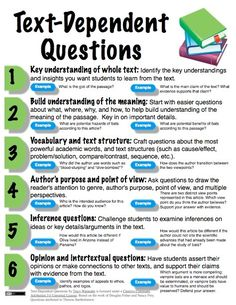Text Dependent Questions for higher order thinking/ Common Core