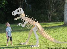 HUGE 3D Dinosaur made an excellent photo prop at the party!