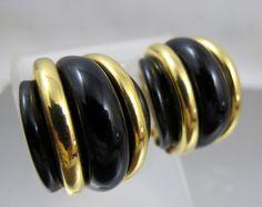 KJL Kenneth Jay Lane Earrings Black Gold Semi by TonettesTreasures